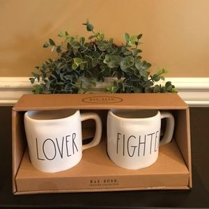 NWT Rae Dunn LOVER FIGHTER Coffee Mug Box Set
